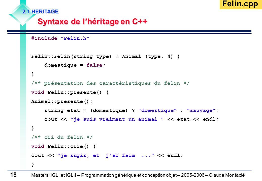 Masters IIGLI et IGLII – Programmation générique et conception objet – 2005-2006 – Claude Montacié 18 2.1 HERITAGE Syntaxe de l'héritage en C++ Felin.cpp #include Felin.h Felin::Felin(string type) : Animal (type, 4) { domestique = false; } /** présentation des caractéristiques du félin */ void Felin::presente() { Animal::presente(); string etat = (domestique) .
