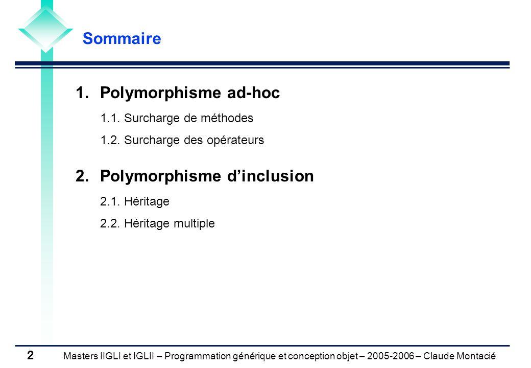 Masters IIGLI et IGLII – Programmation générique et conception objet – 2005-2006 – Claude Montacié 2 1.Polymorphisme ad-hoc 1.1.