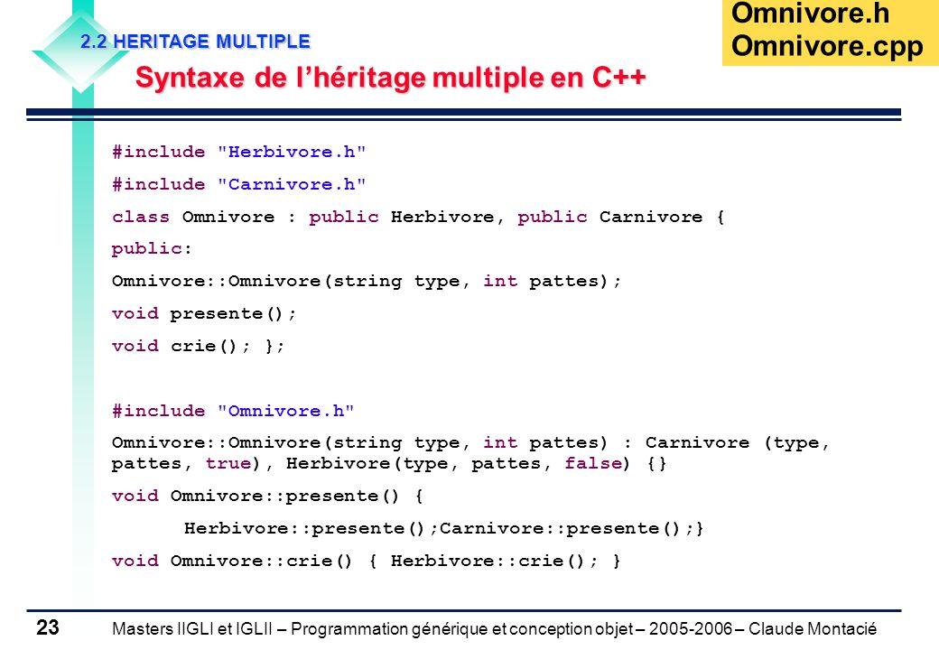 Masters IIGLI et IGLII – Programmation générique et conception objet – 2005-2006 – Claude Montacié 23 2.2 HERITAGE MULTIPLE Syntaxe de l'héritage multiple en C++ Omnivore.h #include Herbivore.h #include Carnivore.h class Omnivore : public Herbivore, public Carnivore { public: Omnivore::Omnivore(string type, int pattes); void presente(); void crie(); }; #include Omnivore.h Omnivore::Omnivore(string type, int pattes) : Carnivore (type, pattes, true), Herbivore(type, pattes, false) {} void Omnivore::presente() { Herbivore::presente();Carnivore::presente();} void Omnivore::crie() { Herbivore::crie(); } Omnivore.cpp