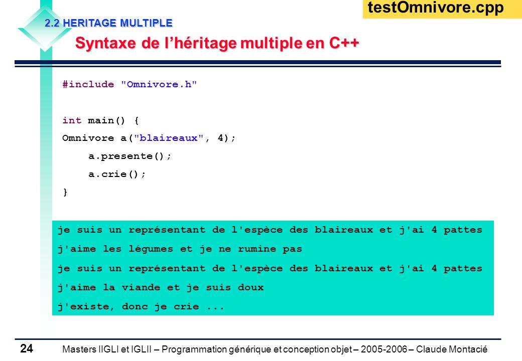 Masters IIGLI et IGLII – Programmation générique et conception objet – 2005-2006 – Claude Montacié 24 2.2 HERITAGE MULTIPLE Syntaxe de l'héritage multiple en C++ testOmnivore.cpp #include Omnivore.h int main() { Omnivore a( blaireaux , 4); a.presente(); a.crie(); } je suis un représentant de l espèce des blaireaux et j ai 4 pattes j aime les légumes et je ne rumine pas je suis un représentant de l espèce des blaireaux et j ai 4 pattes j aime la viande et je suis doux j existe, donc je crie...