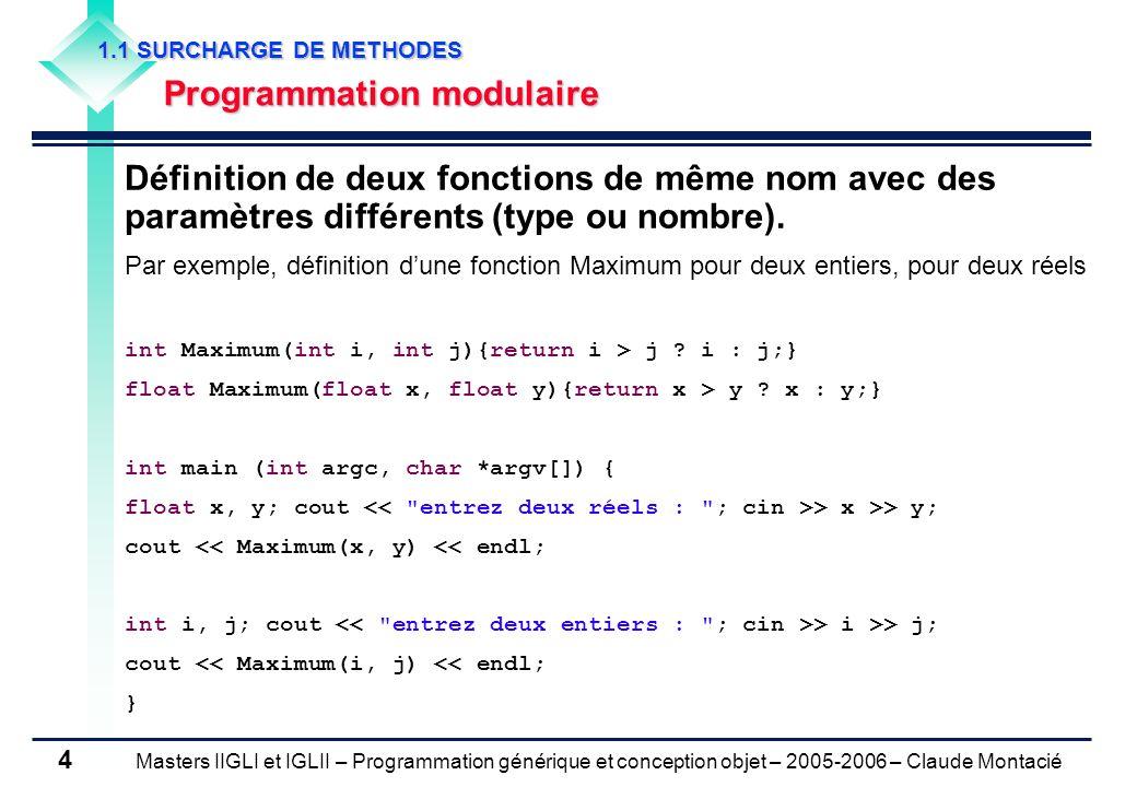 Masters IIGLI et IGLII – Programmation générique et conception objet – 2005-2006 – Claude Montacié 4 1.1 SURCHARGE DE METHODES Programmation modulaire Définition de deux fonctions de même nom avec des paramètres différents (type ou nombre).