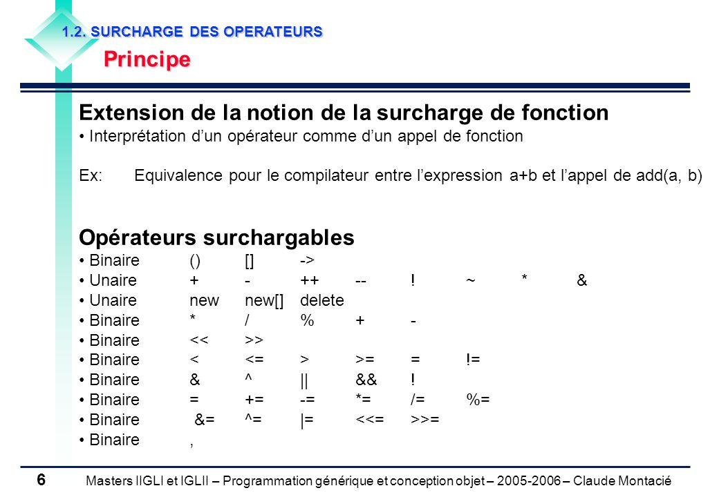 Masters IIGLI et IGLII – Programmation générique et conception objet – 2005-2006 – Claude Montacié 6 1.2.