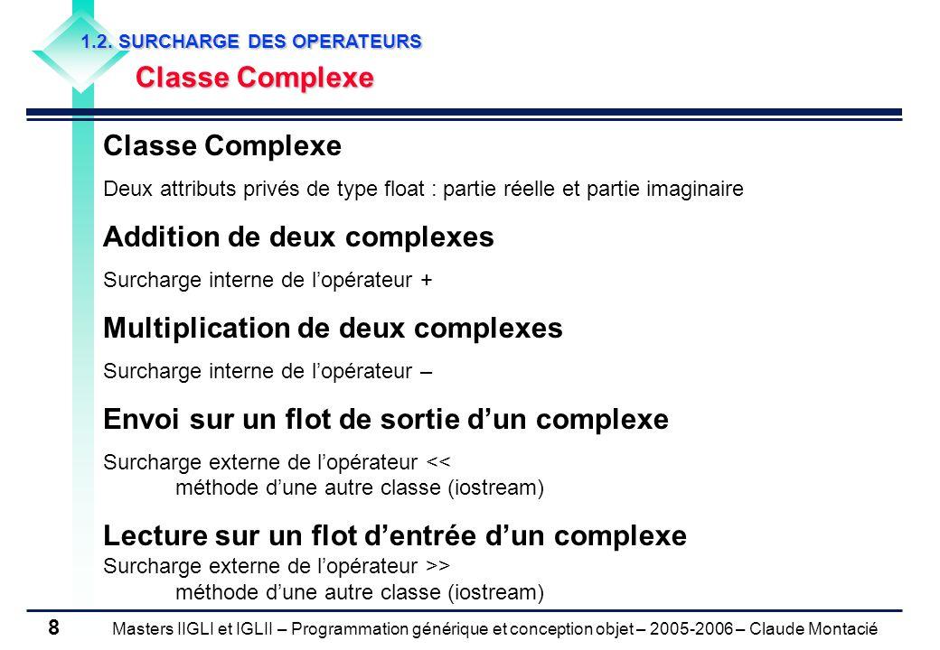 Masters IIGLI et IGLII – Programmation générique et conception objet – 2005-2006 – Claude Montacié 8 1.2.