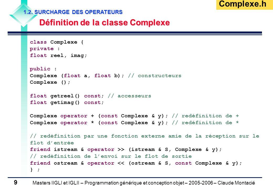Masters IIGLI et IGLII – Programmation générique et conception objet – 2005-2006 – Claude Montacié 9 1.2.
