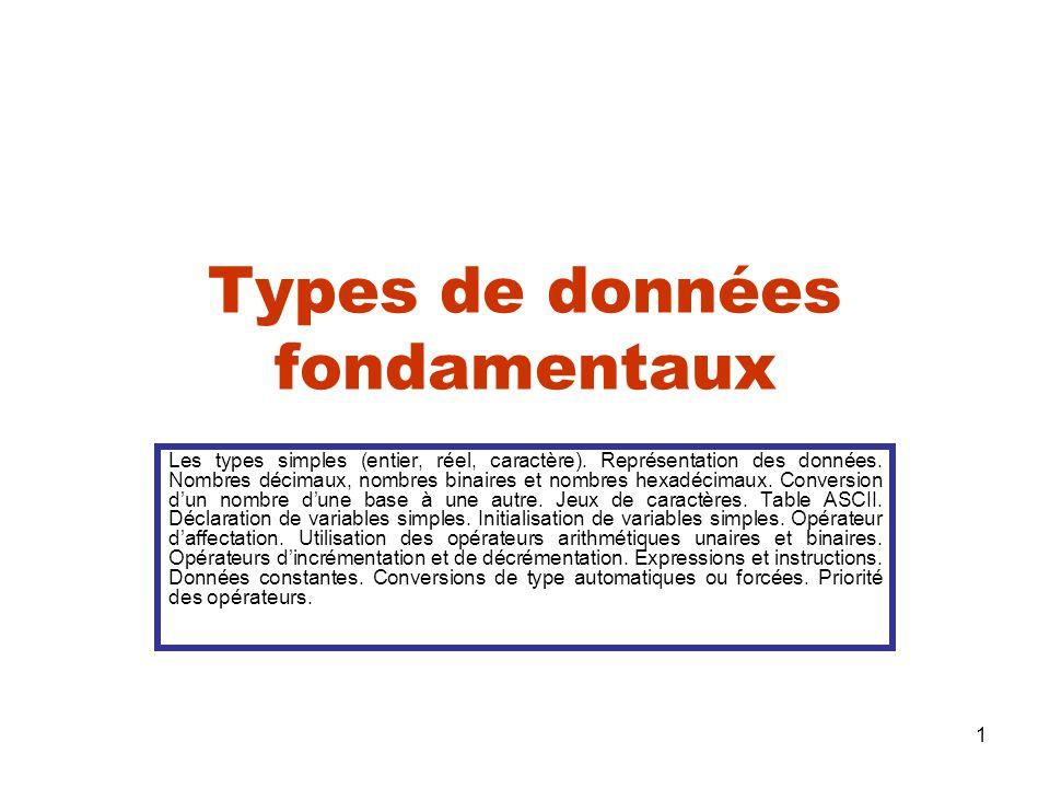 1 Types de données fondamentaux Les types simples (entier, réel, caractère). Représentation des données. Nombres décimaux, nombres binaires et nombres