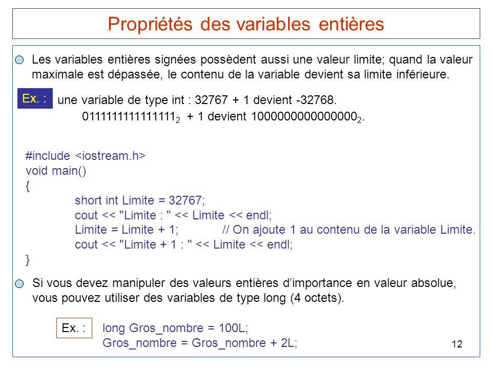 12 Propriétés des variables entières Les variables entières signées possèdent aussi une valeur limite; quand la valeur maximale est dépassée, le conte