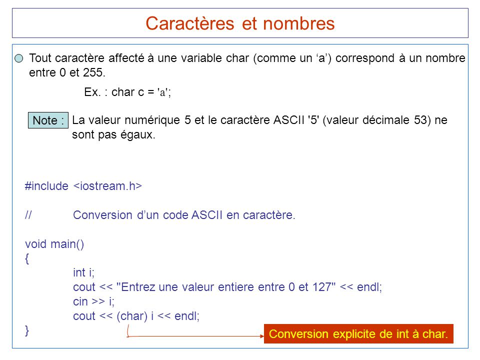15 Caractères et nombres Tout caractère affecté à une variable char (comme un 'a') correspond à un nombre entre 0 et 255. #include //Conversion d'un c