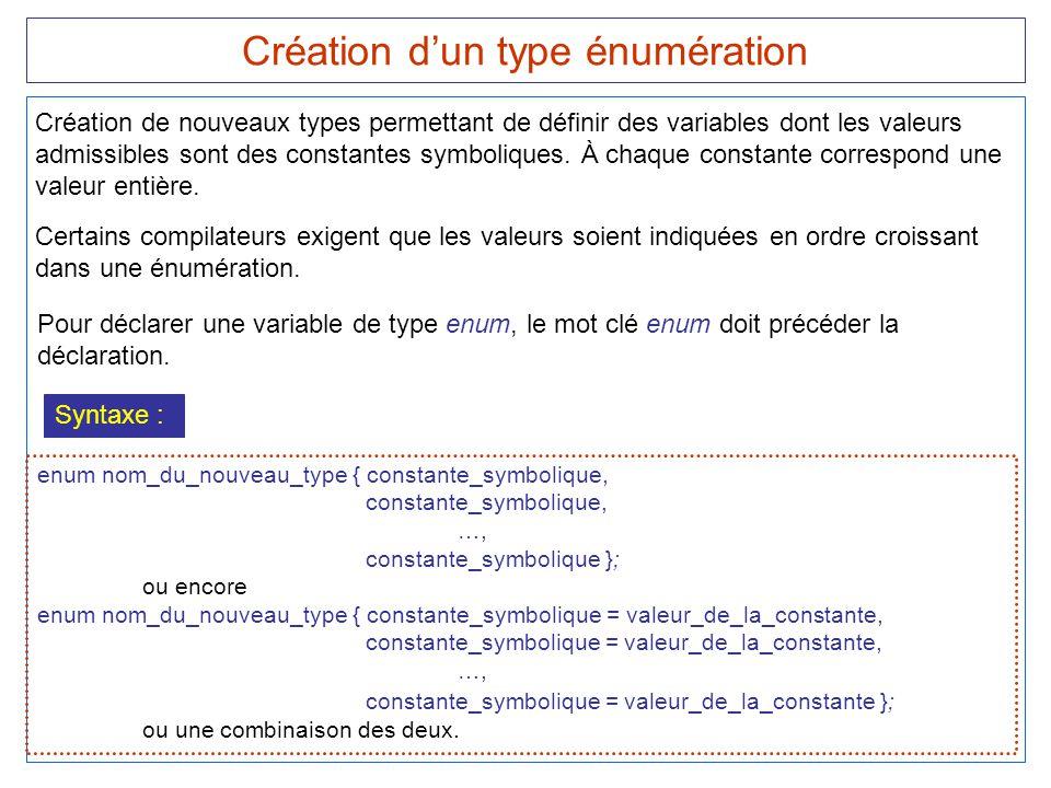 Création d'un type énumération Syntaxe : enum nom_du_nouveau_type { constante_symbolique, constante_symbolique, …, constante_symbolique }; ou encore e