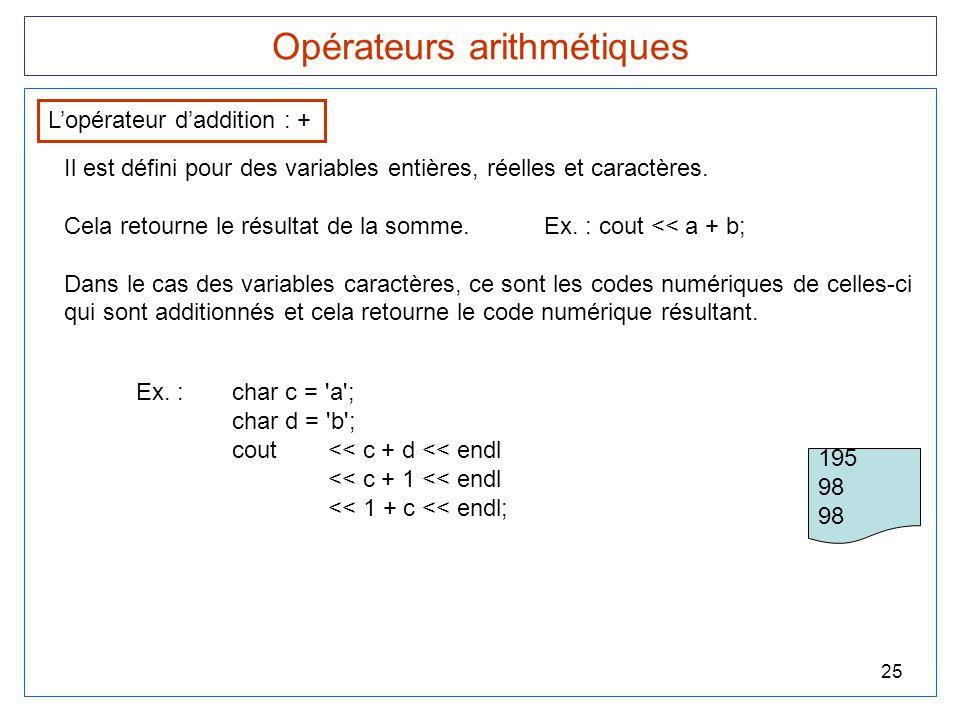 25 Opérateurs arithmétiques L'opérateur d'addition : + Il est défini pour des variables entières, réelles et caractères. Cela retourne le résultat de