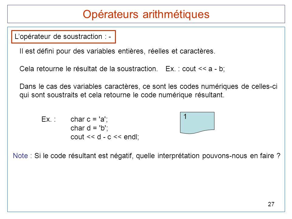 27 Opérateurs arithmétiques L'opérateur de soustraction : - Il est défini pour des variables entières, réelles et caractères. Cela retourne le résulta
