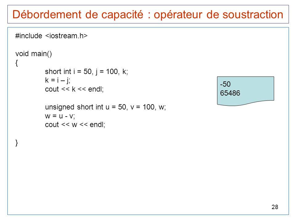 28 Débordement de capacité : opérateur de soustraction #include void main() { short int i = 50, j = 100, k; k = i – j; cout << k << endl; unsigned sho