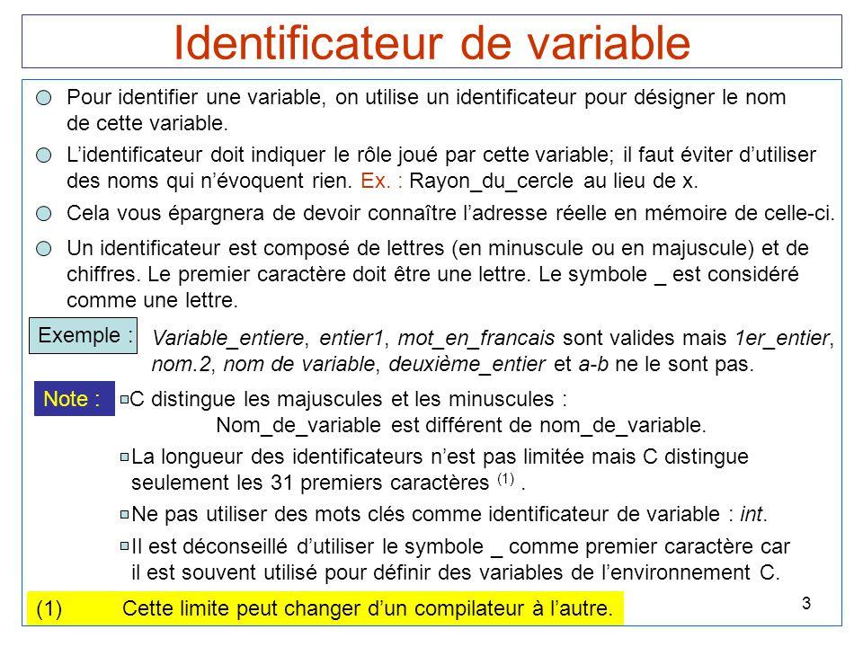 3 Identificateur de variable Pour identifier une variable, on utilise un identificateur pour désigner le nom de cette variable. Cela vous épargnera de