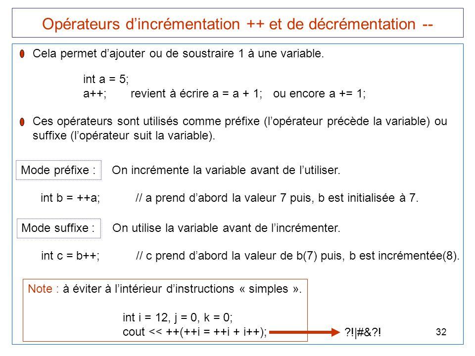 32 Opérateurs d'incrémentation ++ et de décrémentation -- Cela permet d'ajouter ou de soustraire 1 à une variable. int a = 5; a++;revient à écrire a =