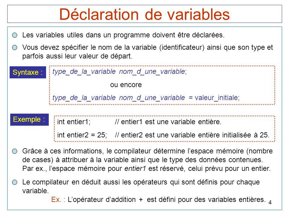 5 Principaux types de variables 1 caractère Exemple :char caractere; float nombre_decimal; long int entier = 175; Note :On peut déterminer la taille d'un type de variable sur un ordinateur ainsi : cout << La taille d'un entier est de : << sizeof(int) << octets. ;