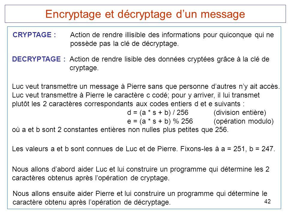 42 Encryptage et décryptage d'un message DECRYPTAGE :Action de rendre lisible des données cryptées grâce à la clé de cryptage. CRYPTAGE : Action de re