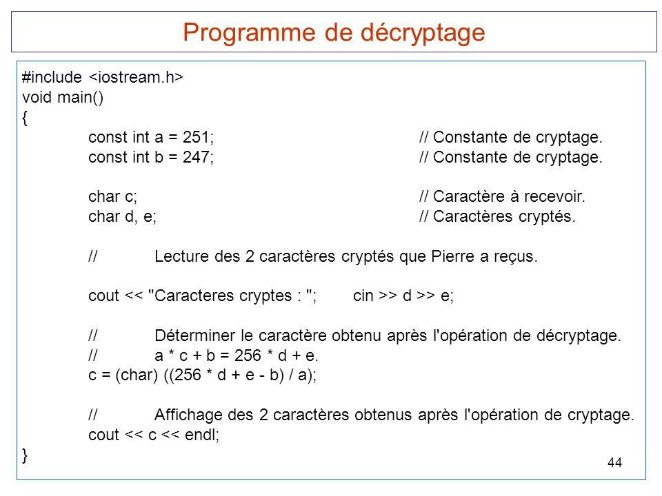 44 Programme de décryptage #include void main() { const int a = 251;// Constante de cryptage. const int b = 247;// Constante de cryptage. char c;// Ca