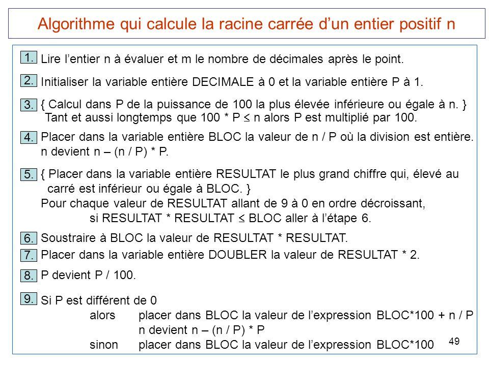 49 Algorithme qui calcule la racine carrée d'un entier positif n 1. Lire l'entier n à évaluer et m le nombre de décimales après le point. 3. { Calcul