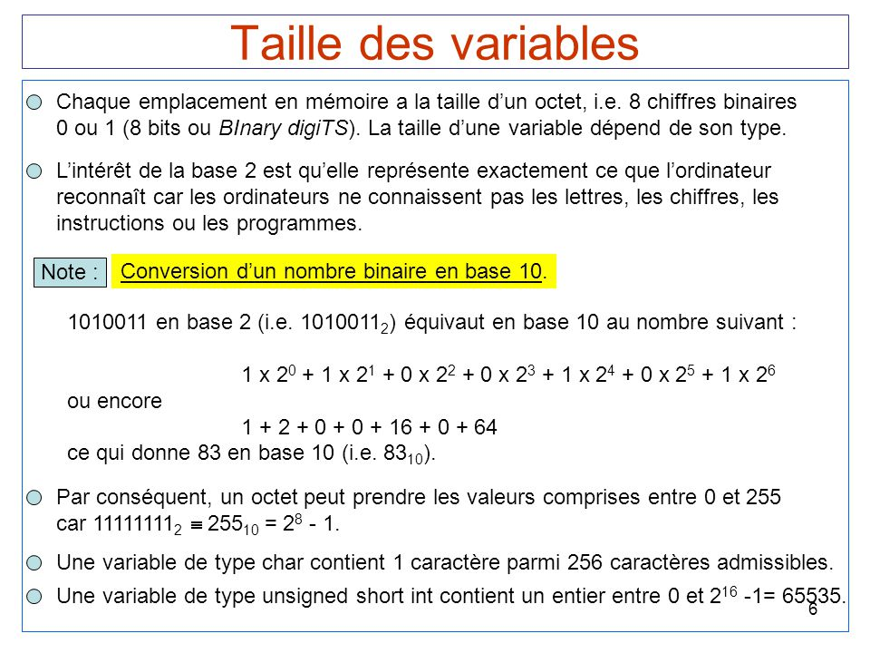6 Taille des variables Chaque emplacement en mémoire a la taille d'un octet, i.e. 8 chiffres binaires 0 ou 1 (8 bits ou BInary digiTS). La taille d'un