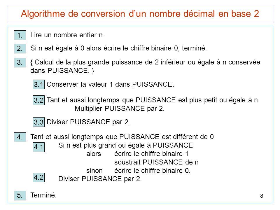 8 Algorithme de conversion d'un nombre décimal en base 2 1. Lire un nombre entier n. 3. { Calcul de la plus grande puissance de 2 inférieur ou égale à