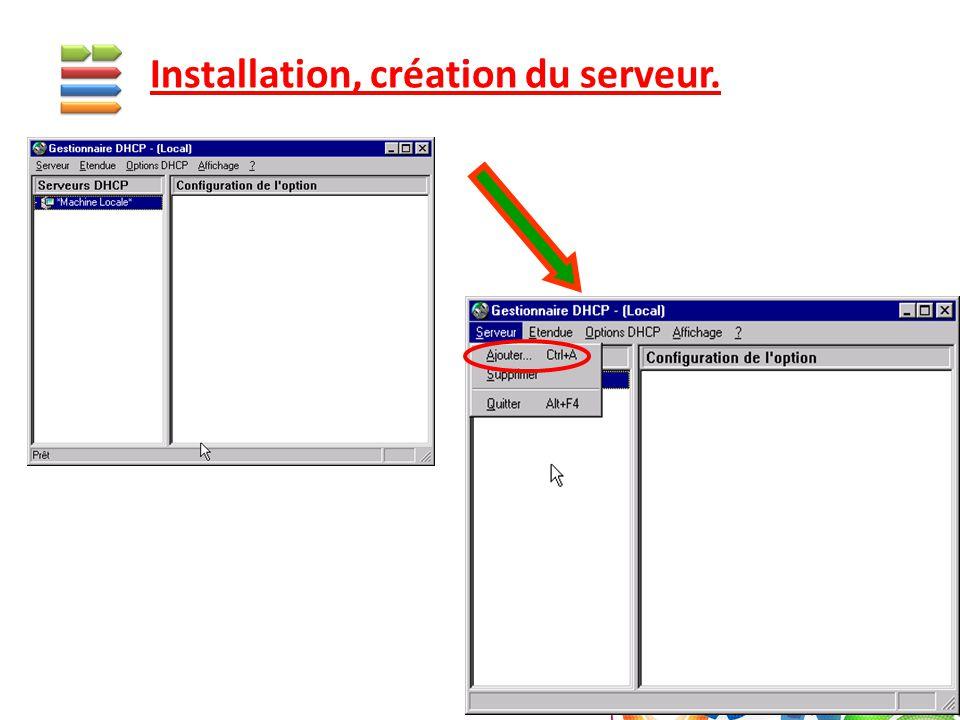 Installation, création du serveur.