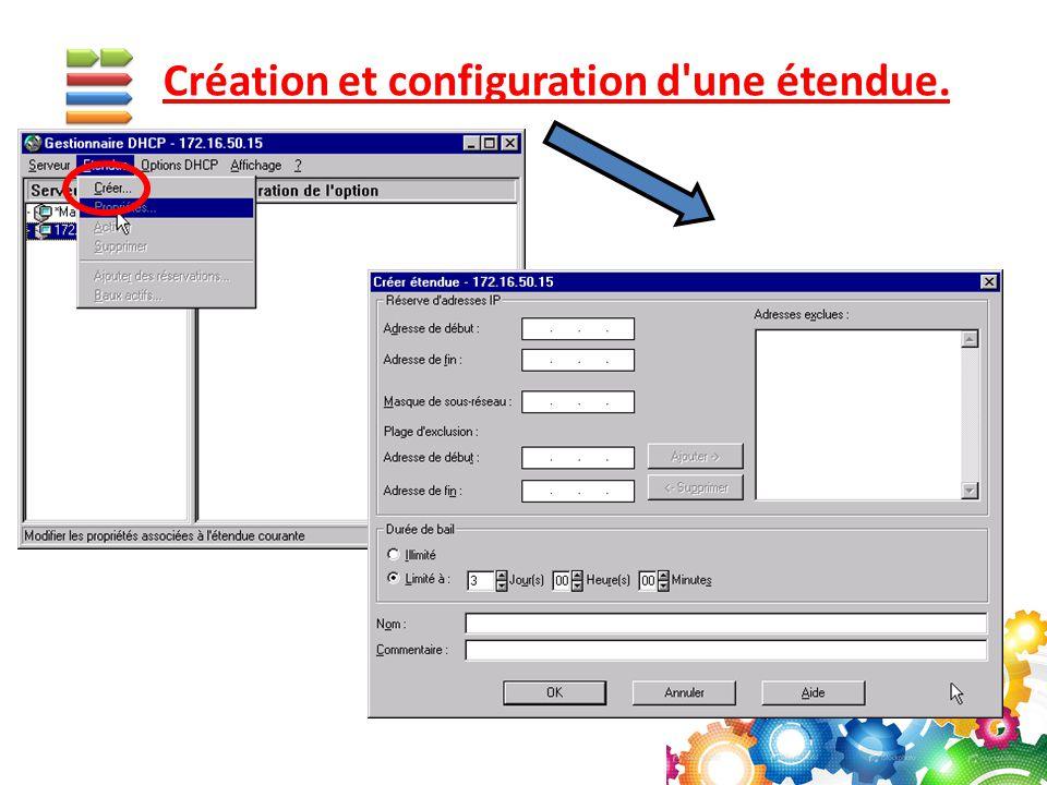 Création et configuration d'une étendue.