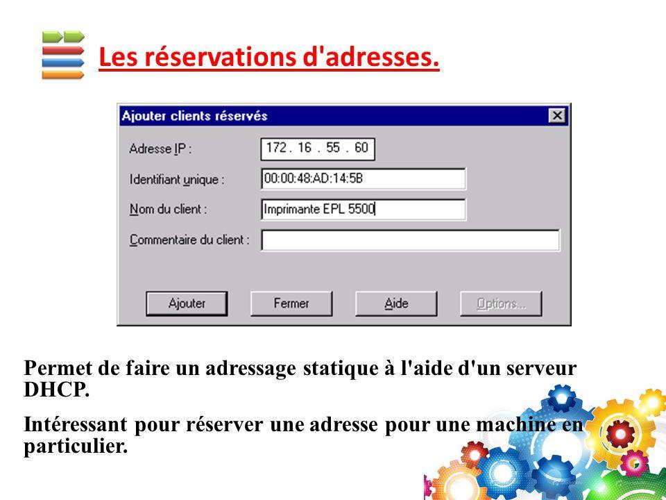Permet de faire un adressage statique à l'aide d'un serveur DHCP. Intéressant pour réserver une adresse pour une machine en particulier.