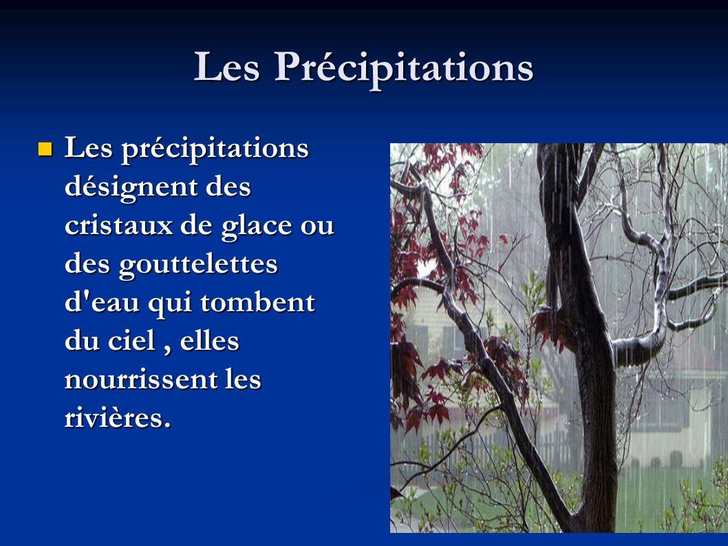 Les Précipitations  Les précipitations désignent des cristaux de glace ou des gouttelettes d'eau qui tombent du ciel, elles nourrissent les rivières.
