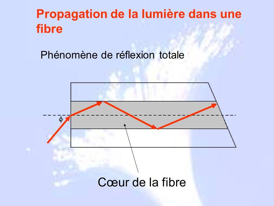 Grecs 1790 1854 1880 1927 1930 1950 1960 1964 1970 1977 Propagation de la lumière dans une fibre Cœur de la fibre Phénomène de réflexion totale