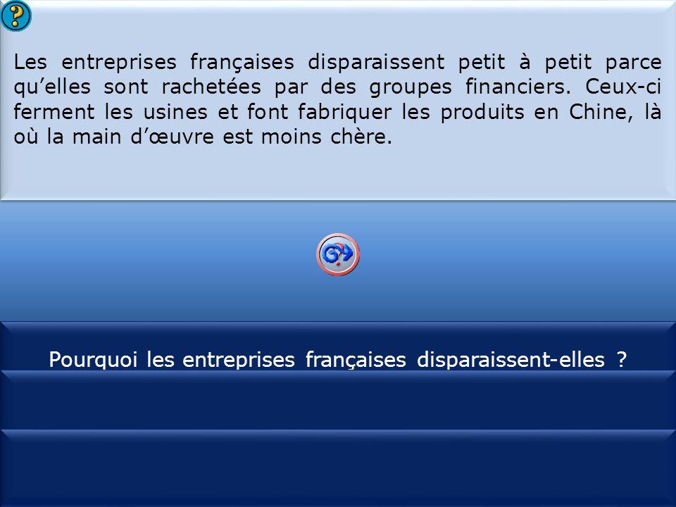 S1 Les entreprises françaises disparaissent petit à petit parce qu'elles sont rachetées par des groupes financiers. Ceux-ci ferment les usines et font