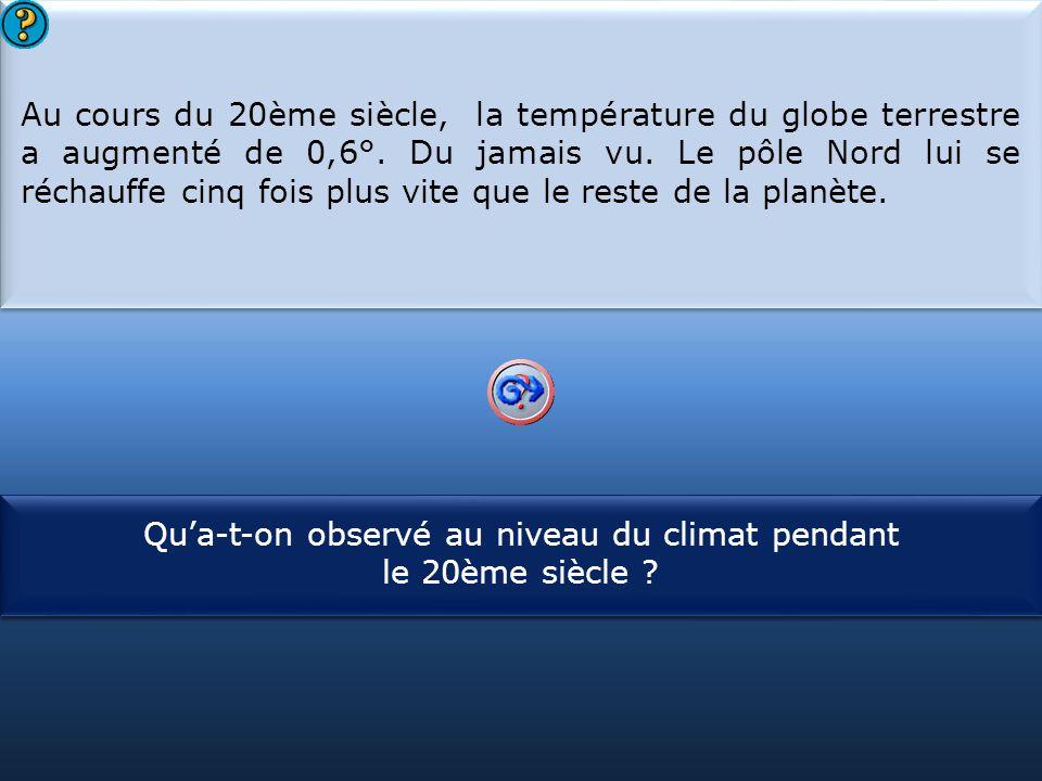 S1 Au cours du 20ème siècle, la température du globe terrestre a augmenté de 0,6°. Du jamais vu. Le pôle Nord lui se réchauffe cinq fois plus vite que