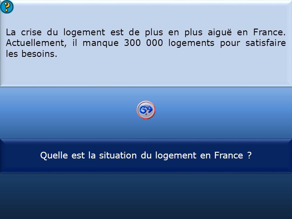 S1 La crise du logement est de plus en plus aiguë en France. Actuellement, il manque 300 000 logements pour satisfaire les besoins. La crise du logeme