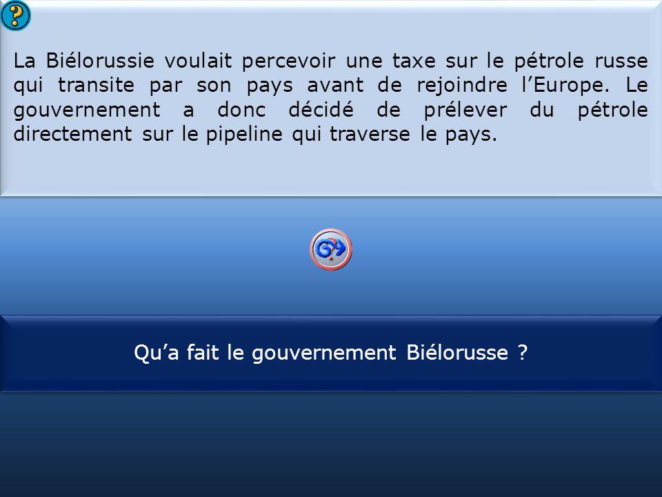 S1 La Biélorussie voulait percevoir une taxe sur le pétrole russe qui transite par son pays avant de rejoindre l'Europe. Le gouvernement a donc décidé