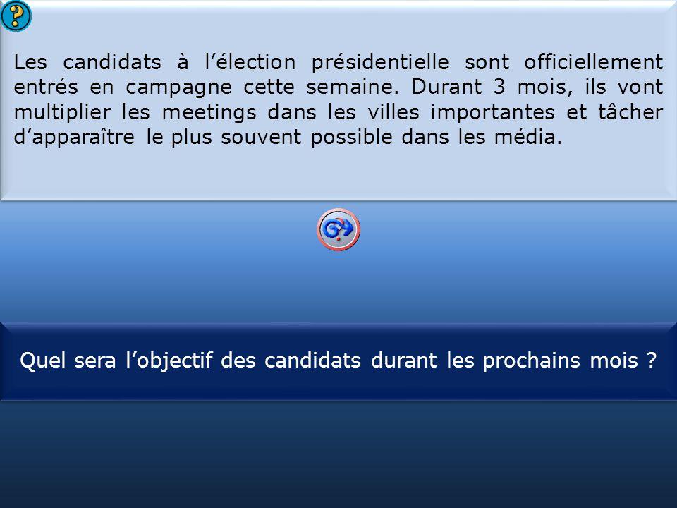 S1 Les candidats à l'élection présidentielle sont officiellement entrés en campagne cette semaine. Durant 3 mois, ils vont multiplier les meetings dan