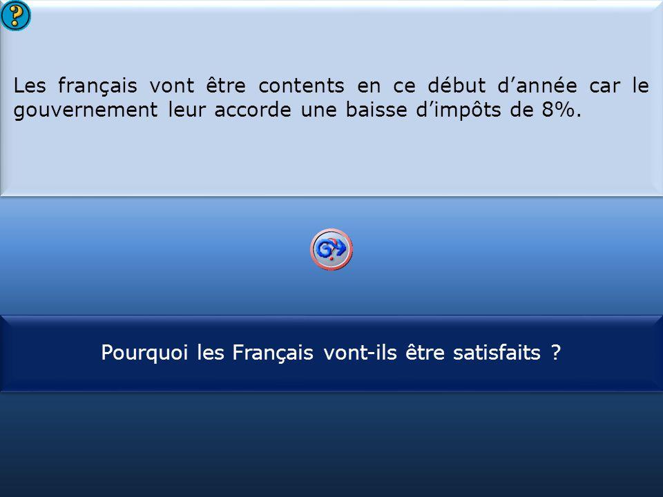 S1 Les français vont être contents en ce début d'année car le gouvernement leur accorde une baisse d'impôts de 8%. Les français vont être contents en