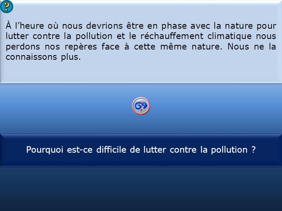 S1 À l'heure où nous devrions être en phase avec la nature pour lutter contre la pollution et le réchauffement climatique nous perdons nos repères face à cette même nature.