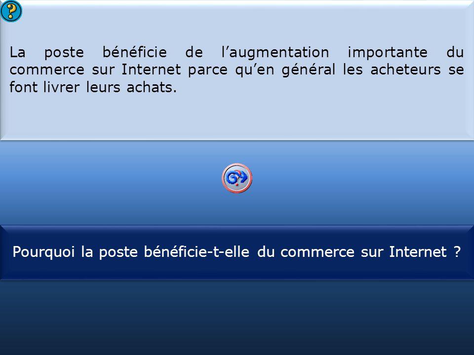 S1 La poste bénéficie de l'augmentation importante du commerce sur Internet parce qu'en général les acheteurs se font livrer leurs achats. La poste bé