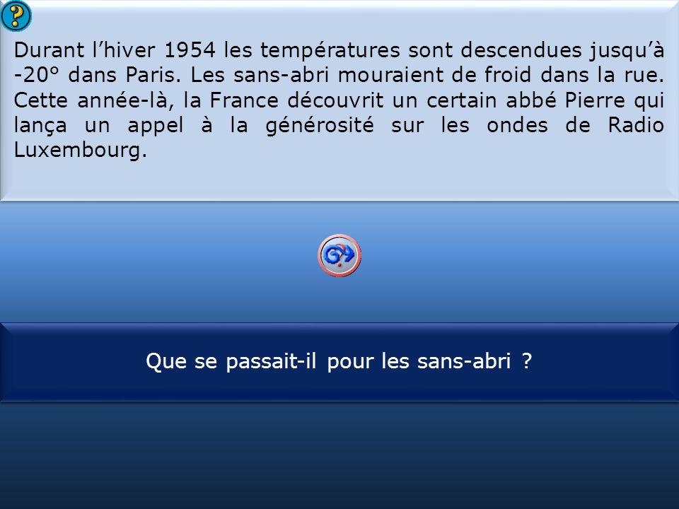 S1 Durant l'hiver 1954 les températures sont descendues jusqu'à -20° dans Paris. Les sans-abri mouraient de froid dans la rue. Cette année-là, la Fran