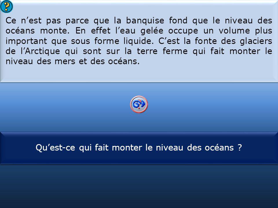 S1 Ce n'est pas parce que la banquise fond que le niveau des océans monte. En effet l'eau gelée occupe un volume plus important que sous forme liquide