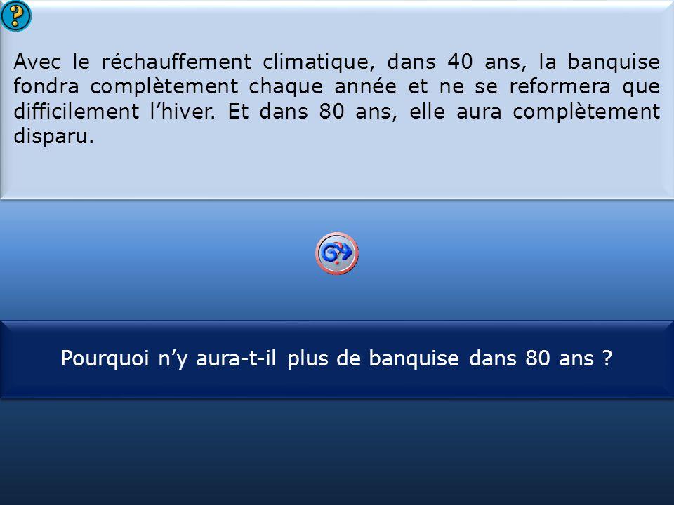 S1 Avec le réchauffement climatique, dans 40 ans, la banquise fondra complètement chaque année et ne se reformera que difficilement l'hiver. Et dans 8