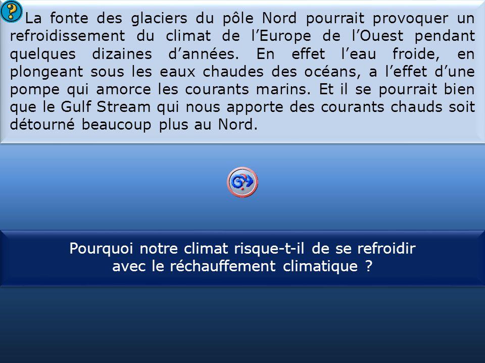 S1 La fonte des glaciers du pôle Nord pourrait provoquer un refroidissement du climat de l'Europe de l'Ouest pendant quelques dizaines d'années. En ef