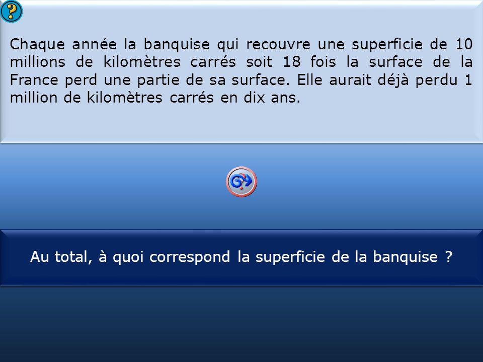 S1 Chaque année la banquise qui recouvre une superficie de 10 millions de kilomètres carrés soit 18 fois la surface de la France perd une partie de sa surface.