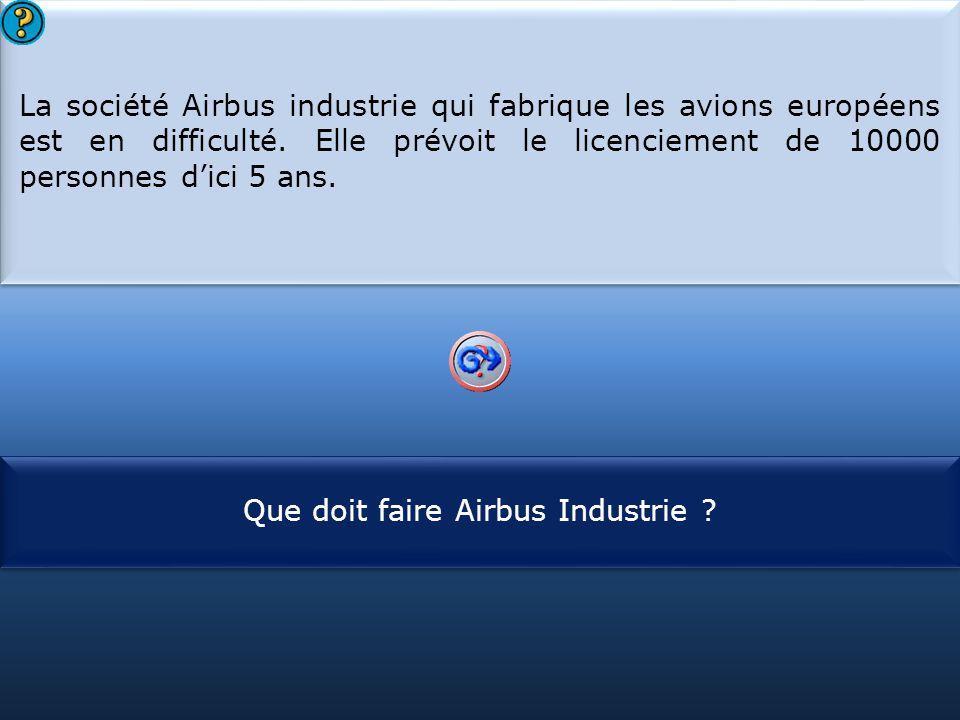 S1 La société Airbus industrie qui fabrique les avions européens est en difficulté. Elle prévoit le licenciement de 10000 personnes d'ici 5 ans. La so