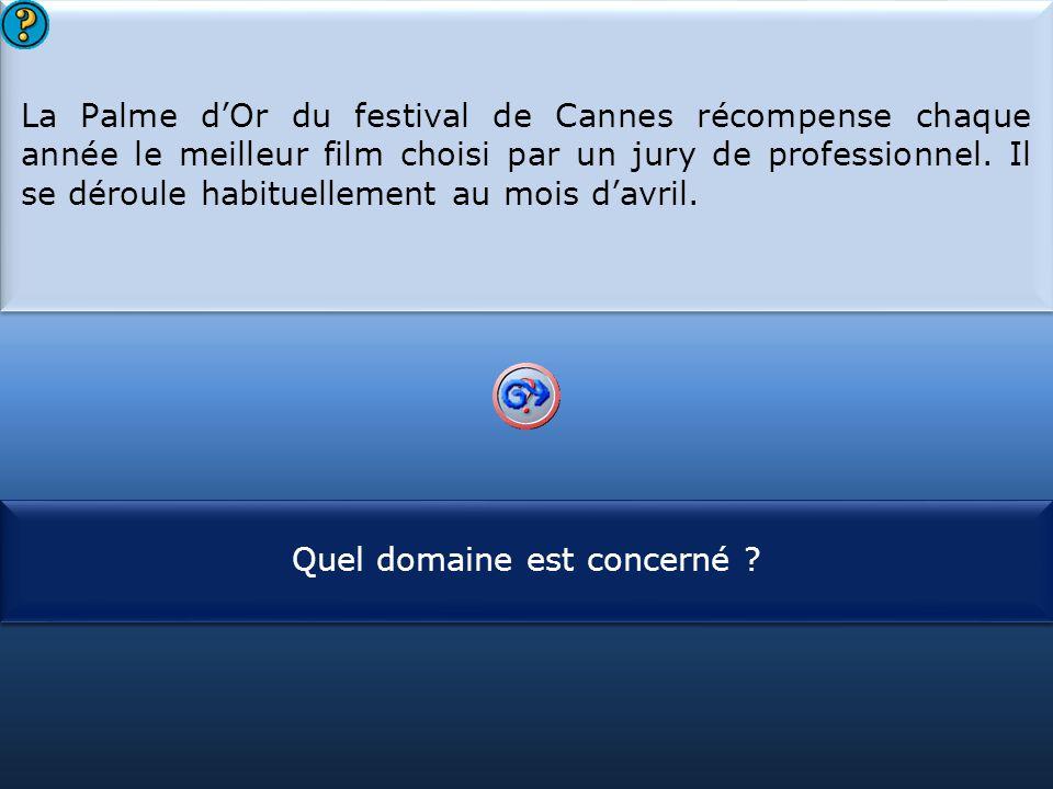 S1 La Palme d'Or du festival de Cannes récompense chaque année le meilleur film choisi par un jury de professionnel. Il se déroule habituellement au m
