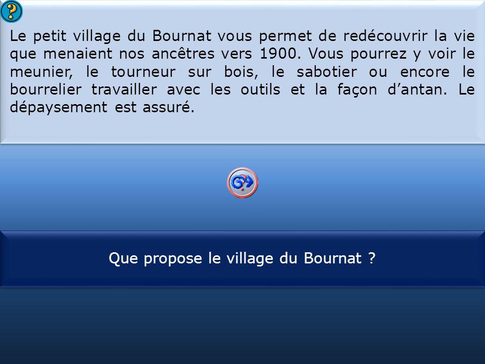 S1 Le petit village du Bournat vous permet de redécouvrir la vie que menaient nos ancêtres vers 1900. Vous pourrez y voir le meunier, le tourneur sur