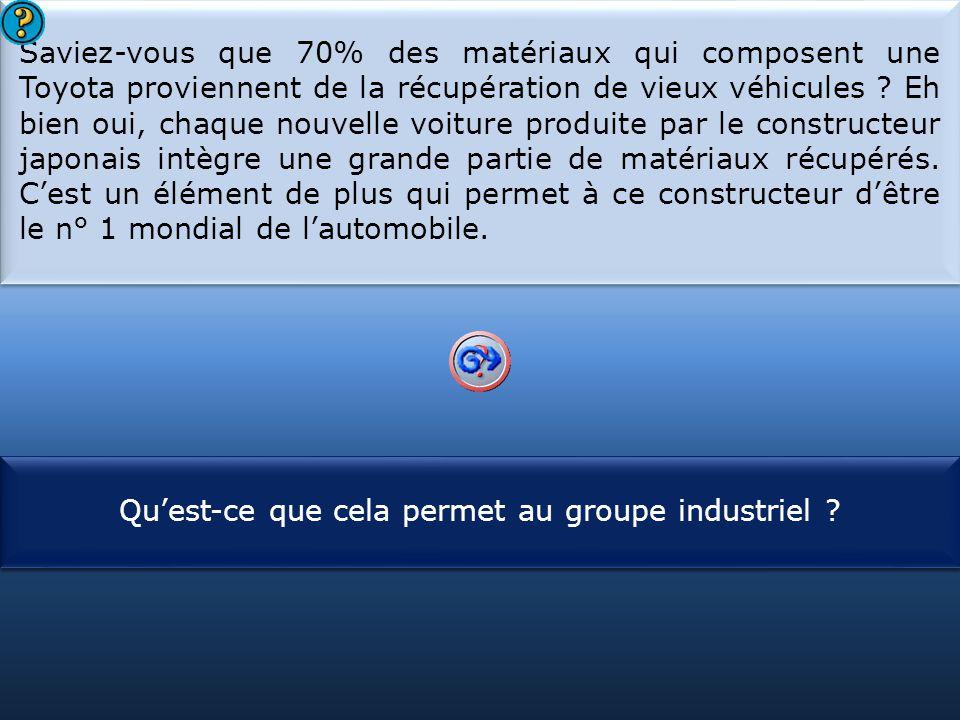 S1 Saviez-vous que 70% des matériaux qui composent une Toyota proviennent de la récupération de vieux véhicules .