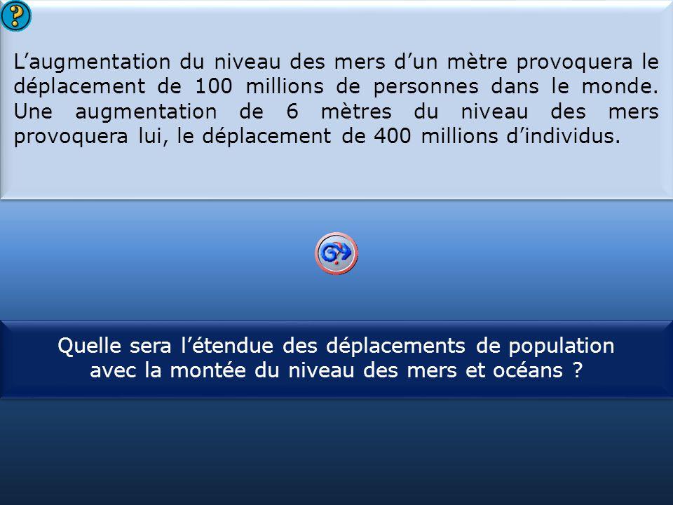 S1 L'augmentation du niveau des mers d'un mètre provoquera le déplacement de 100 millions de personnes dans le monde. Une augmentation de 6 mètres du