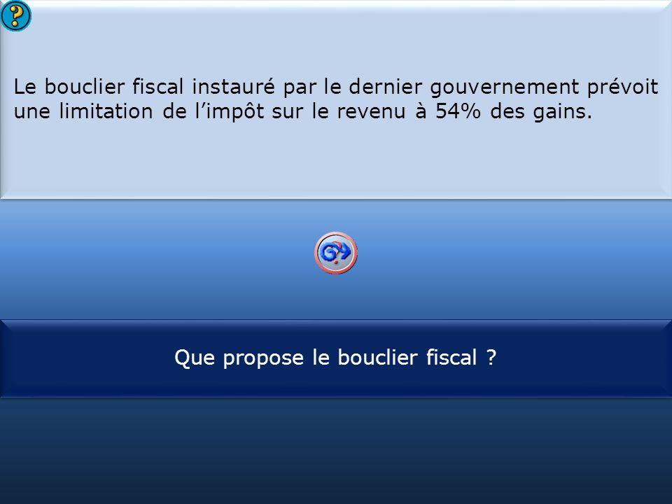 S1 Le bouclier fiscal instauré par le dernier gouvernement prévoit une limitation de l'impôt sur le revenu à 54% des gains. Le bouclier fiscal instaur