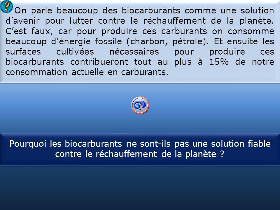 S1 On parle beaucoup des biocarburants comme une solution d'avenir pour lutter contre le réchauffement de la planète. C'est faux, car pour produire ce