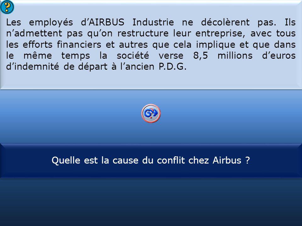 S1 Les employés d'AIRBUS Industrie ne décolèrent pas. Ils n'admettent pas qu'on restructure leur entreprise, avec tous les efforts financiers et autre