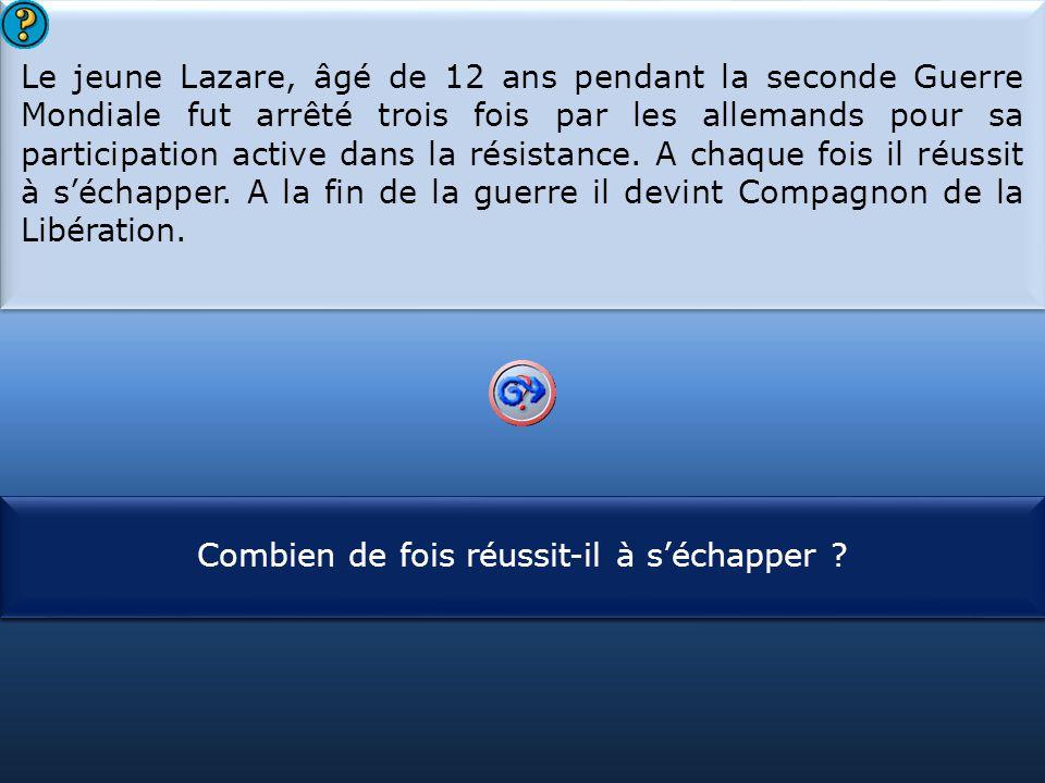 S1 Le jeune Lazare, âgé de 12 ans pendant la seconde Guerre Mondiale fut arrêté trois fois par les allemands pour sa participation active dans la résistance.